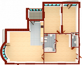 Three-room apartment. Section 1