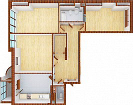 Three-room apartment. Section 4